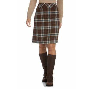L.L.Bean | Andover Pencil Skirt Plaid Wool Blend
